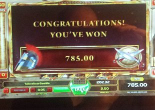 nice win on mighty spartans slot $2.50AU stake