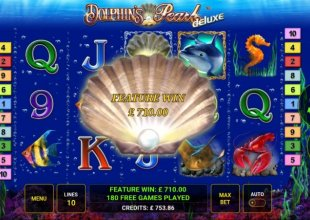 180 free  spins on Dolphins pearl deluxe
