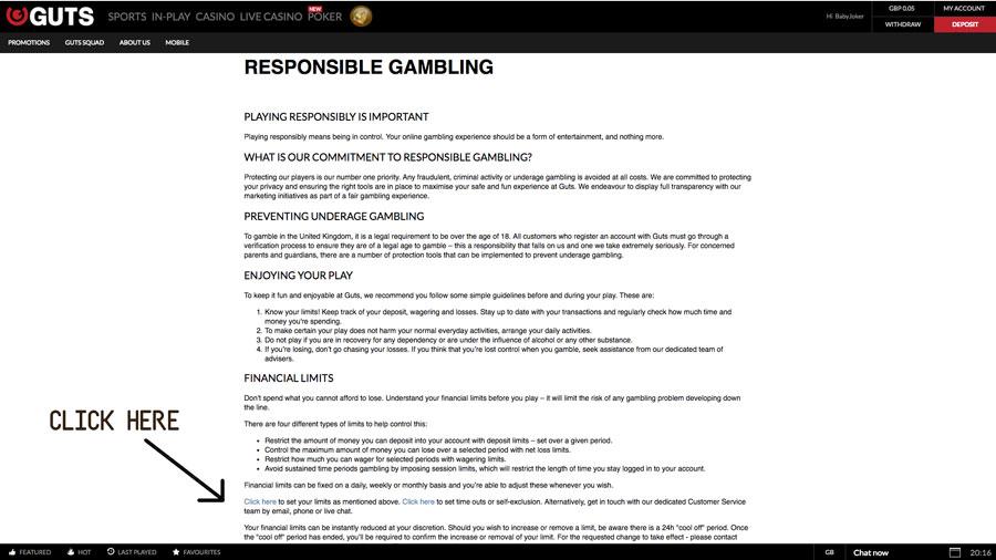 Responsible Gambling at GUTS