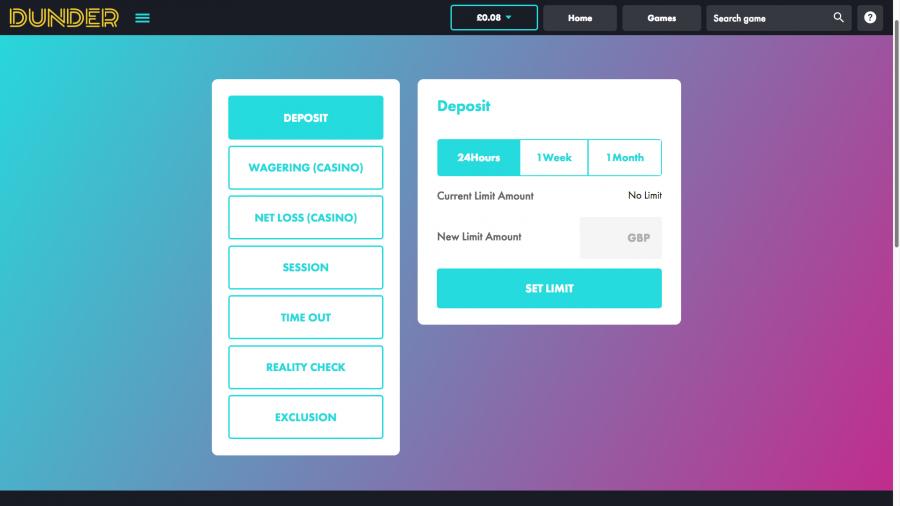 Dunder Casino Responsible Gambling Tab