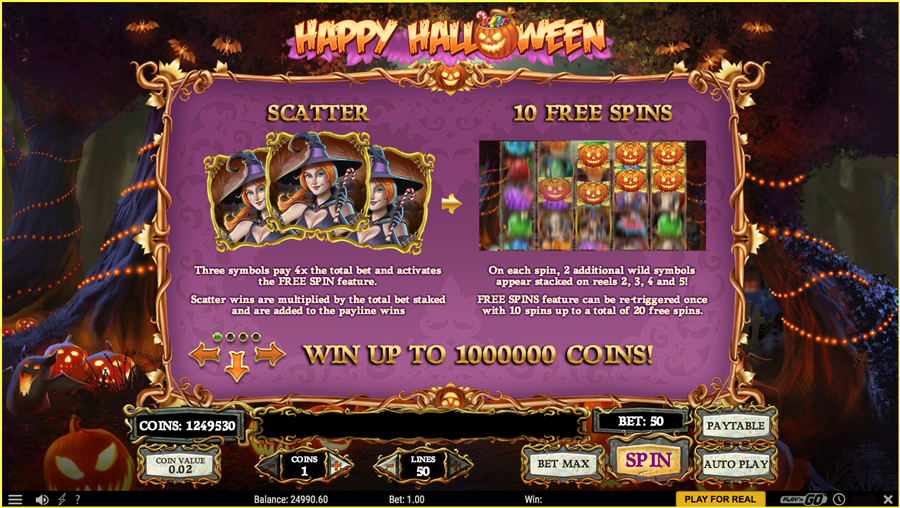 Happy Halloween Paytable TGC