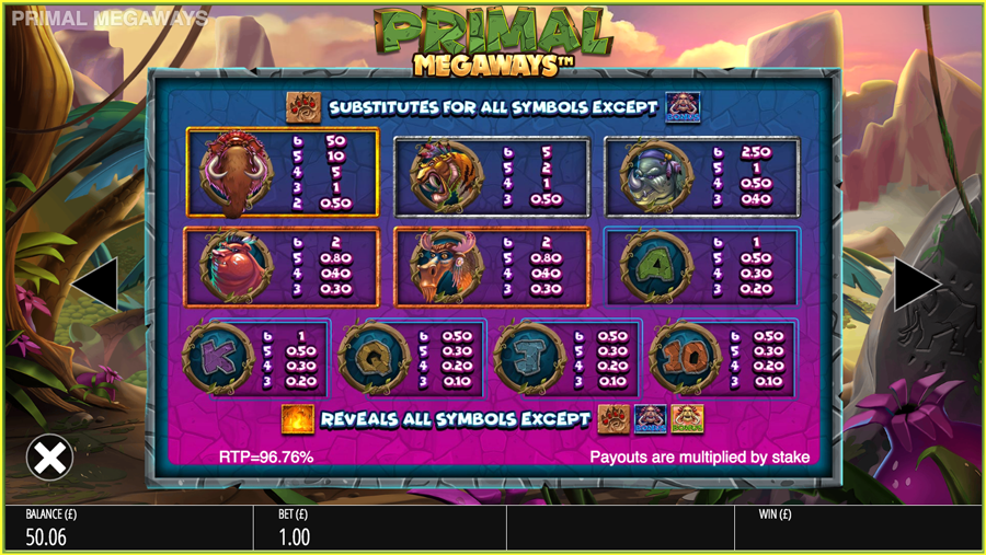 Primal Megaways Paytable