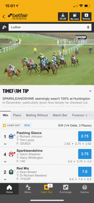 Betfair Mobile Screenshot