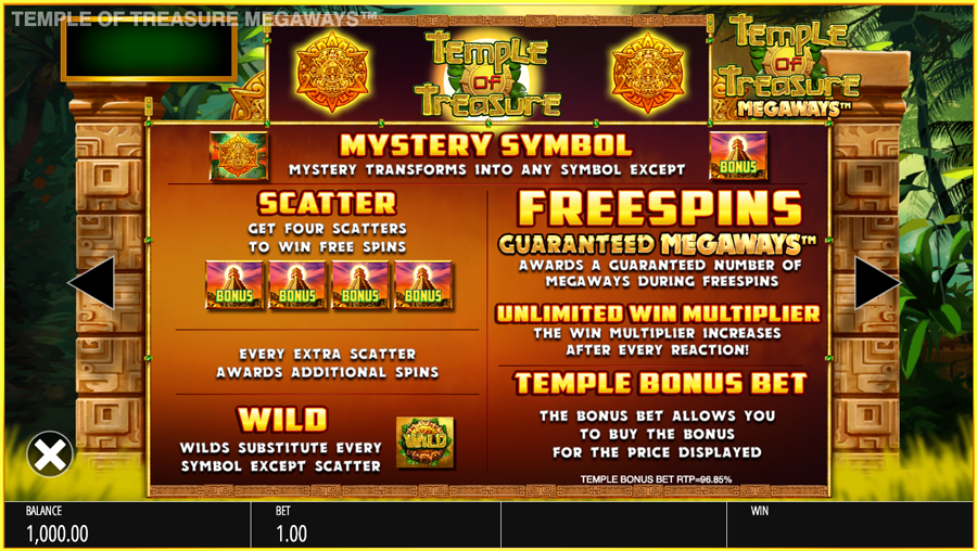 Temple of treasures paytable
