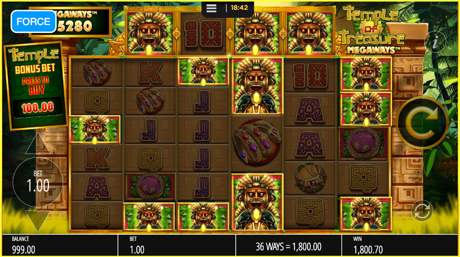 Temple of treasures max base win TGC